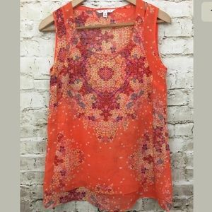 CAbi Orange Floral Merrow Edge Tank Style 268